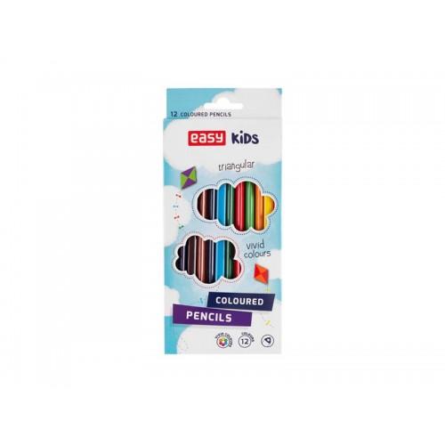 Pastelky EASY Colours drevené trojhranné 12ks