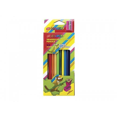 Pastelky EASY trojhranné nelámavé 12ks so strúhadlom