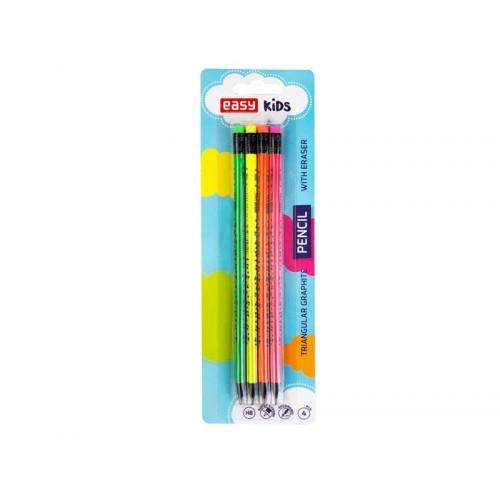 Ceruzky EASY FLUO drevené trojhranné s gumou 4ks