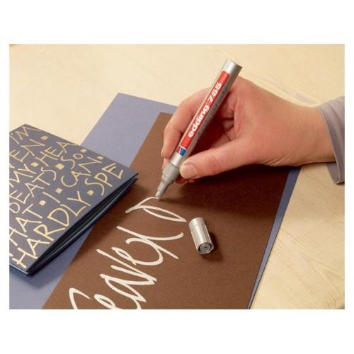 Popisovač kreatívny lakový Edding 753 Calligraphy strieborný 2-3mm